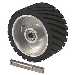 Contact Wheel 200x150x42, w/ Shaft and Bearings, fits Scantool models 150/150X